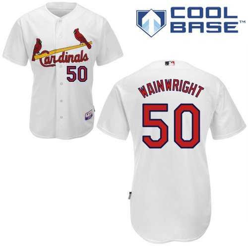 Adam Wainwright #50 MLB Jersey-St Louis Cardinals Men's Authentic Home White Cool Base Baseball Jersey