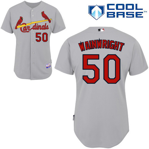 Adam Wainwright #50 MLB Jersey-St Louis Cardinals Men\'s Authentic Road Gray Cool Base Baseball Jersey