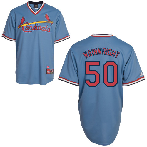 Adam Wainwright #50 mlb Jersey-St Louis Cardinals Women\'s Authentic Blue Road Cooperstown Baseball Jersey
