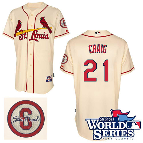 Allen Craig #21 Youth Baseball Jersey-St Louis Cardinals Authentic Commemorative Musial 2013 World Series MLB Jersey