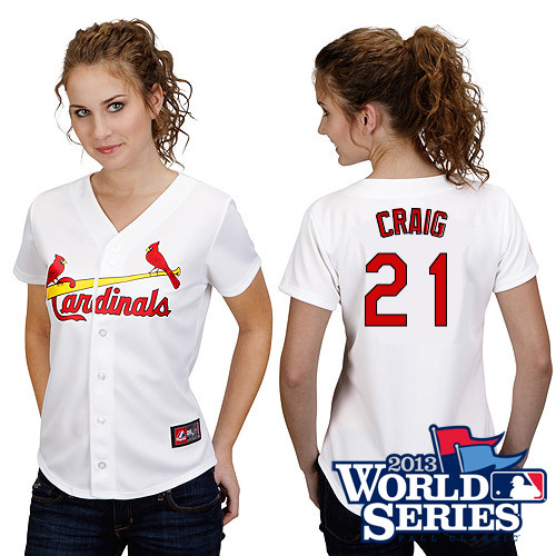 Allen Craig #21 mlb Jersey-St Louis Cardinals Women's Authentic Home White Cool Base World Series Baseball Jersey