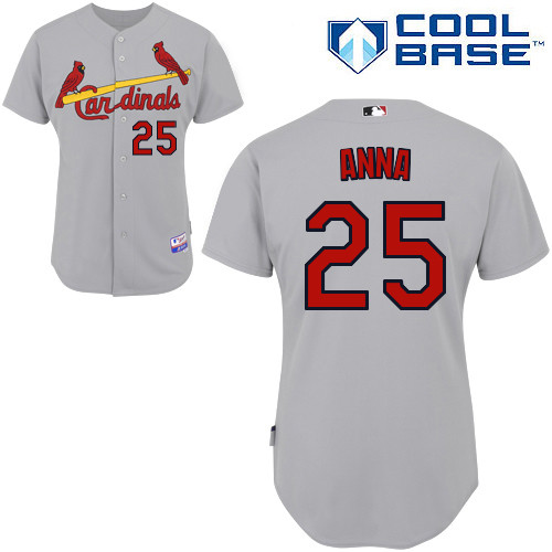 Dean Anna #25 MLB Jersey-St Louis Cardinals Men's Authentic Road Gray Cool Base Baseball Jersey