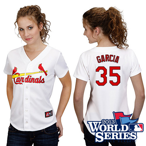 Greg Garcia #35 mlb Jersey-St Louis Cardinals Women's Authentic Home White Cool Base World Series Baseball Jersey