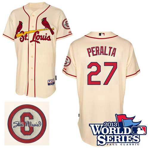 Jhonny Peralta #27 Youth Baseball Jersey-St Louis Cardinals Authentic Commemorative Musial 2013 World Series MLB Jersey