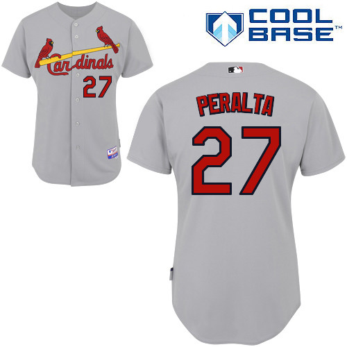 Jhonny Peralta #27 MLB Jersey-St Louis Cardinals Men's Authentic Road Gray Cool Base Baseball Jersey