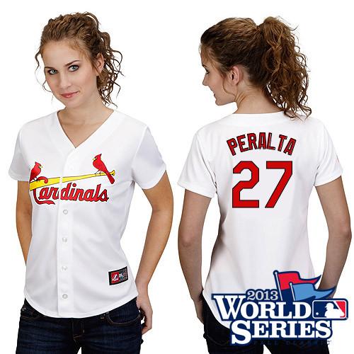 Jhonny Peralta #27 mlb Jersey-St Louis Cardinals Women's Authentic Home White Cool Base World Series Baseball Jersey