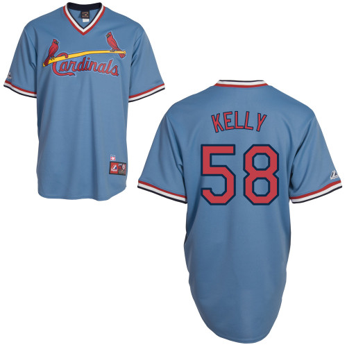 Joe Kelly #58 MLB Jersey-St Louis Cardinals Men's Authentic Blue Road Cooperstown Baseball Jersey