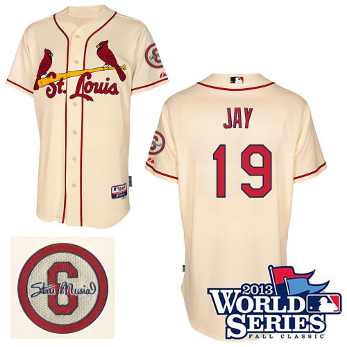 Jon Jay #19 MLB Jersey-St Louis Cardinals Men's Authentic Commemorative Musial 2013 World Series Baseball Jersey
