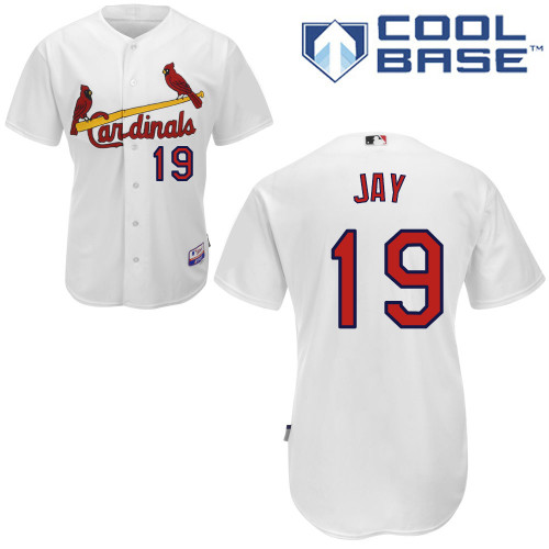 Jon Jay #19 MLB Jersey-St Louis Cardinals Men's Authentic Home White Cool Base Baseball Jersey