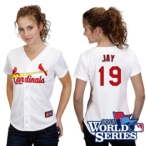 Jon Jay #19 mlb Jersey-St Louis Cardinals Women's Authentic Home White Cool Base World Series Baseball Jersey