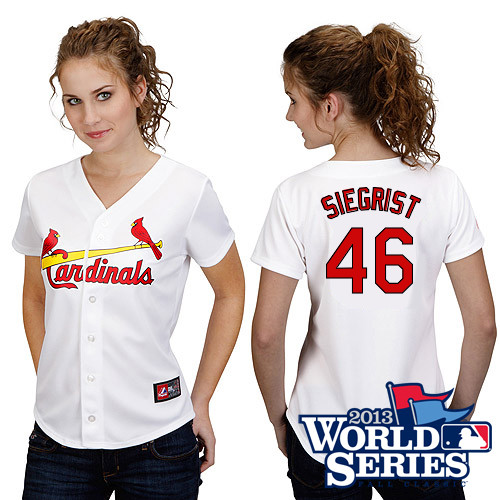 Kevin Siegrist #46 mlb Jersey-St Louis Cardinals Women's Authentic Home White Cool Base World Series Baseball Jersey