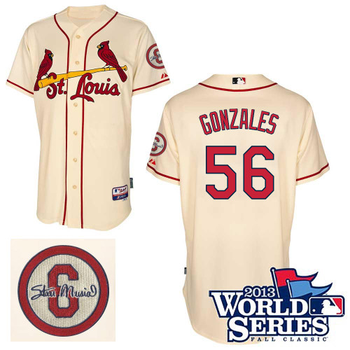 Marco Gonzales #56 MLB Jersey-St Louis Cardinals Men\'s Authentic Commemorative Musial 2013 World Series Baseball Jersey
