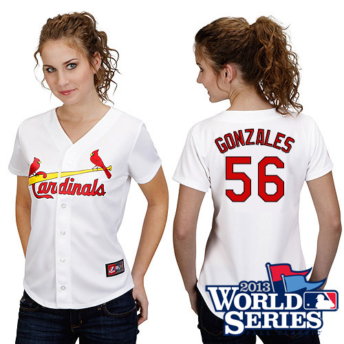 Marco Gonzales #56 mlb Jersey-St Louis Cardinals Women's Authentic Home White Cool Base World Series Baseball Jersey
