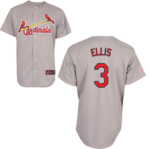 Mark Ellis #3 Youth Baseball Jersey-St Louis Cardinals Authentic Road Gray Cool Base MLB Jersey