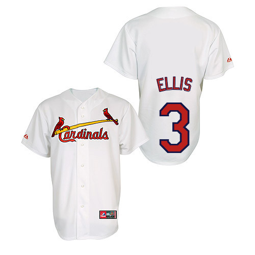 Mark Ellis #3 Youth Baseball Jersey-St Louis Cardinals Authentic Home Jersey by Majestic Athletic MLB Jersey