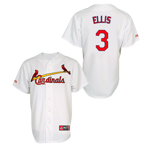 Mark Ellis #3 MLB Jersey-St Louis Cardinals Men's Authentic Home Jersey by Majestic Athletic Baseball Jersey