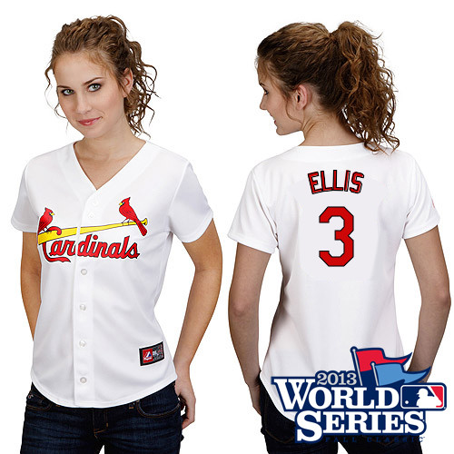Mark Ellis #3 mlb Jersey-St Louis Cardinals Women's Authentic Home White Cool Base World Series Baseball Jersey