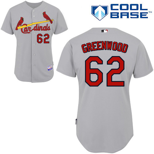 Nick Greenwood #62 MLB Jersey-St Louis Cardinals Men\'s Authentic Road Gray Cool Base Baseball Jersey