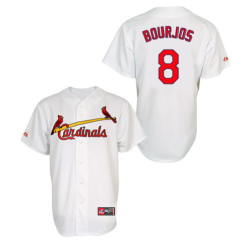 Peter Bourjos #8 MLB Jersey-St Louis Cardinals Men's Authentic Home Jersey by Majestic Athletic Baseball Jersey