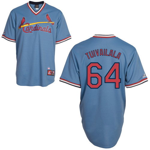 Sam Tuivailala #64 MLB Jersey-St Louis Cardinals Men's Authentic Blue Road Cooperstown Baseball Jersey