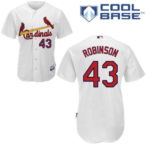 Shane Robinson #43 Youth Baseball Jersey-St Louis Cardinals Authentic Home White Cool Base MLB Jersey