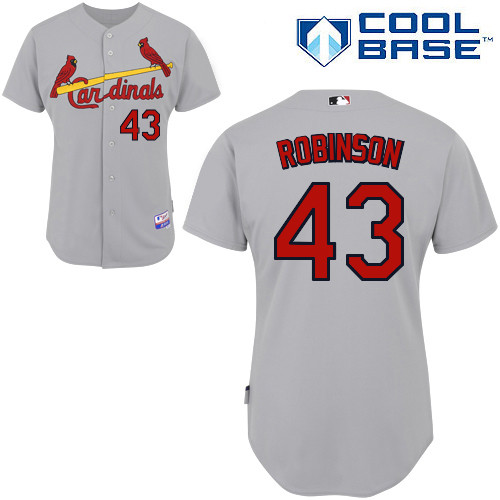 Shane Robinson #43 MLB Jersey-St Louis Cardinals Men's Authentic Road Gray Cool Base Baseball Jersey
