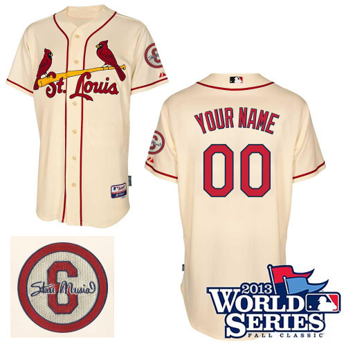 Customized St Louis Cardinals Baseball Jersey-Women's Authentic Commemorative Musial 2013 World Series MLB Jersey