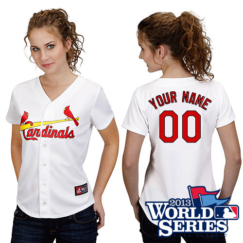 Customized St Louis Cardinals Baseball Jersey-Women's Authentic Home White Cool Base World Series MLB Jersey
