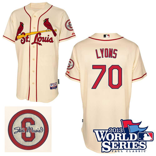Tyler Lyons #70 Youth Baseball Jersey-St Louis Cardinals Authentic Commemorative Musial 2013 World Series MLB Jersey