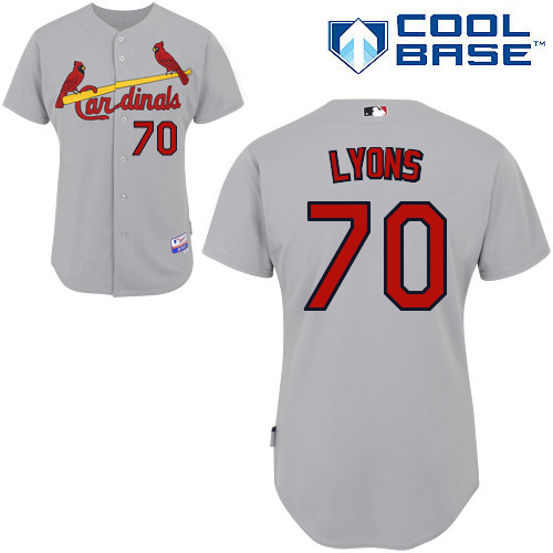 Tyler Lyons #70 MLB Jersey-St Louis Cardinals Men's Authentic Road Gray Cool Base Baseball Jersey