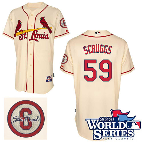Xavier Scruggs #59 MLB Jersey-St Louis Cardinals Men's Authentic Commemorative Musial 2013 World Series Baseball Jersey