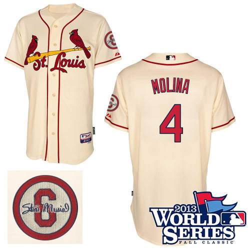 Yadier Molina #4 MLB Jersey-St Louis Cardinals Men's Authentic Commemorative Musial 2013 World Series Baseball Jersey