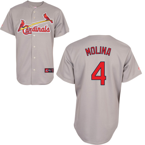 Yadier Molina #4 Youth Baseball Jersey-St Louis Cardinals Authentic Road Gray Cool Base MLB Jersey