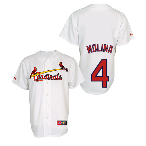 Yadier Molina #4 Youth Baseball Jersey-St Louis Cardinals Authentic Home Jersey by Majestic Athletic MLB Jersey