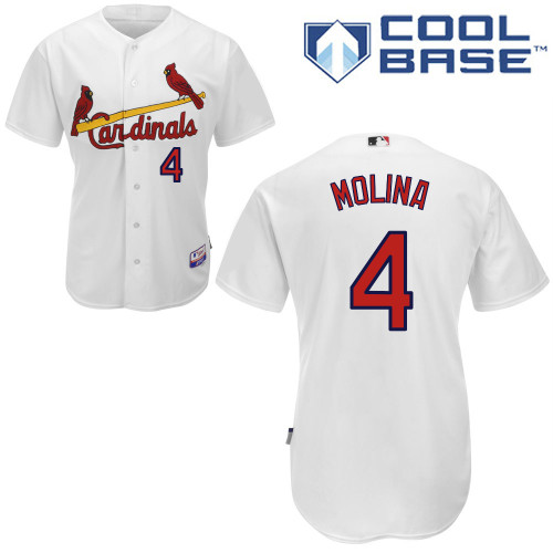 Yadier Molina #4 MLB Jersey-St Louis Cardinals Men's Authentic Home White Cool Base Baseball Jersey