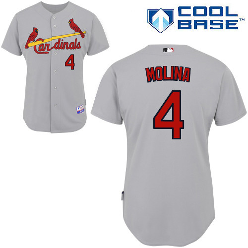 Yadier Molina #4 MLB Jersey-St Louis Cardinals Men's Authentic Road Gray Cool Base Baseball Jersey