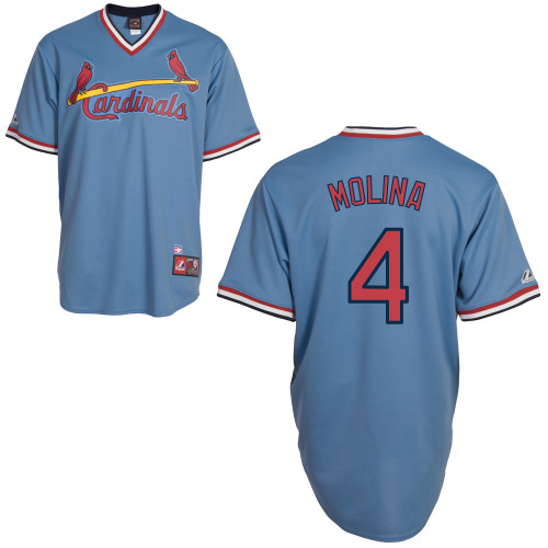 Yadier Molina #4 Youth Baseball Jersey-St Louis Cardinals Authentic Blue Road Cooperstown MLB Jersey